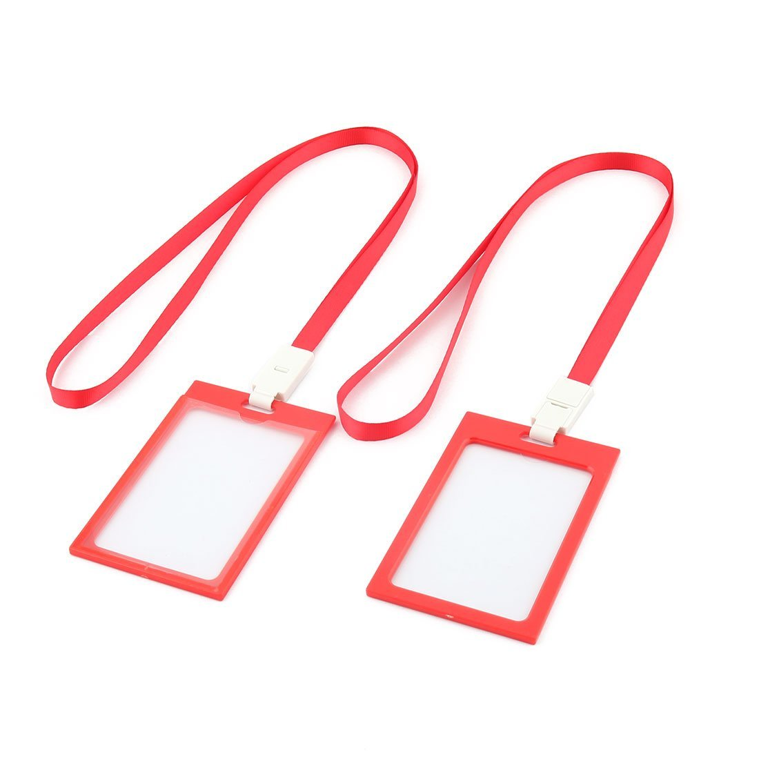 DealMux Office School Neck String Lanyard Vertical ID Card Holder Case Container 5 Pcs Red