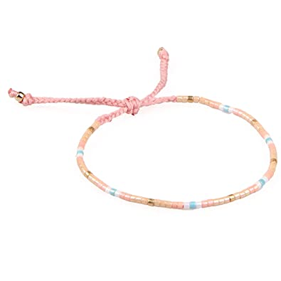 KELITCH Mixed Color Seed Beaded Thin Rope String Braided Bracelet for Girls/Women NdH8pxxAT