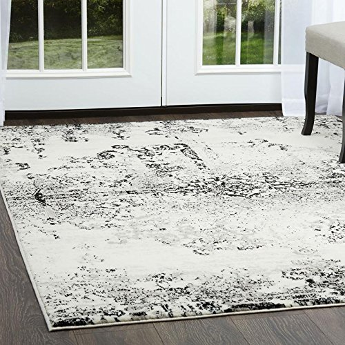 Home Dynamix Boho Makenna Area Rug |Modern Rug with Abstract Medallion Print | Soft and Cozy Living Room Rug | Soft Distressed Texture | Ivory-Gray 1'6 x 7'2 Runner