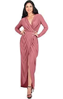 a6000b7d3915b KOH KOH Womens Long Sleeve Formal Wrap Draped Cocktail V-Neck Gown Maxi  Dress