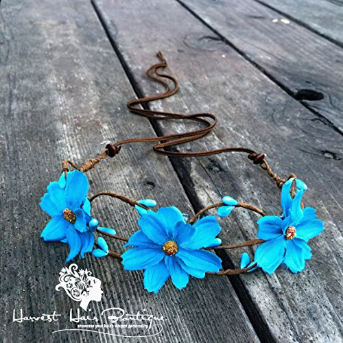 Large Retro Flower Crown // Turquoise blue flower headpiece for a hippie boho wedding // Floral headband accessory for women or teen