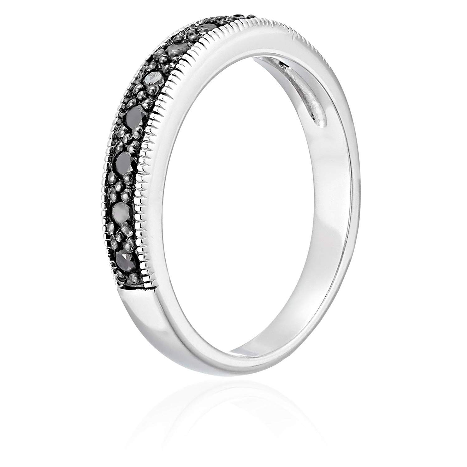 Sizes 5 to 10 1//4 cttw Black Diamond Ring With Milgrain .925 Sterling Silver