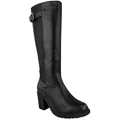 502a5619fba Womens Ladies Wide Leg Knee HIGH MID Calf Block Heel Riding Boots Stretch  Shoes (UK
