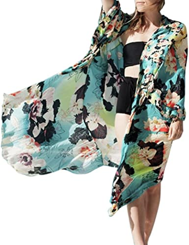 Floral Print Loose Flowy Maxi Cardigan Wrap Jacket Open Front Long Sleeves Belt