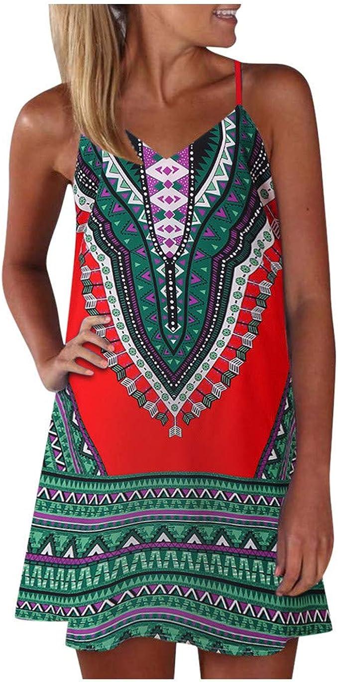 URIBAKY Boho Damen Sommerkleid Kurz Große Größen Drucken Farbblock