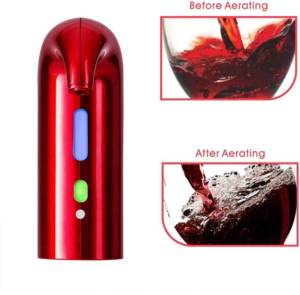 3 Wine Aerating Functions Instant Oxidizes USB Charge Wine Gift Set for Wine Lovers One-Touch Wine Decanter and Wine Dispenser Pump Electric Wine Aerator Pourer