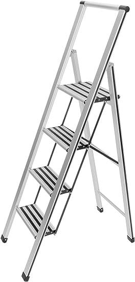 WENKO Escalera plegable en diseño de aluminio 4 peldaños, 4 marches, Aluminio, 44 x 153 x 5.5 cm, Plata mate: Amazon.es: Bricolaje y herramientas