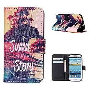 Para Galaxy S3 , Leathlux Isle Sunset Scenery PU Cuero Magnética Billetera Flip Stand Protector Shell Carcasa Funda Tapa Case Cover Con Tarjeta Titular para Samsung Galaxy S3 III i9300