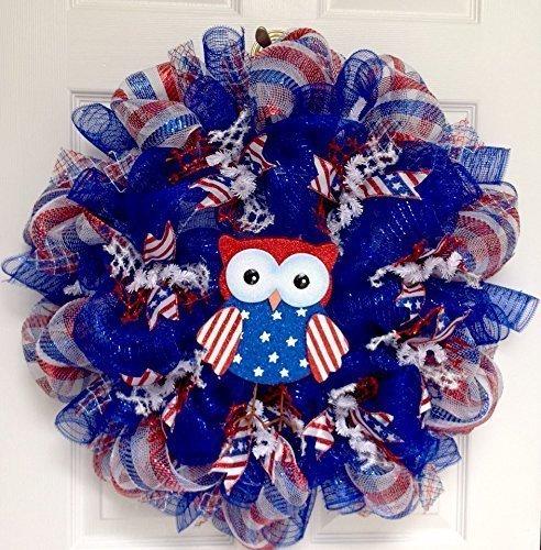 Patriotic Owl Handmade Deco Mesh Wreath