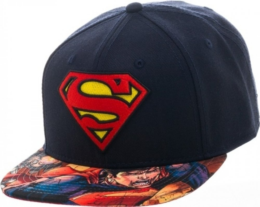 Marvel Superhero Avengers and Superman Logo Sublimated Adjustable Snapback Cap (Superman Logo)
