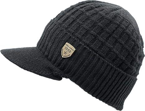 New Mens Womens Winter Warm Knit Hat Ski Visor Fleece Outdoor Beanie Brim Cap