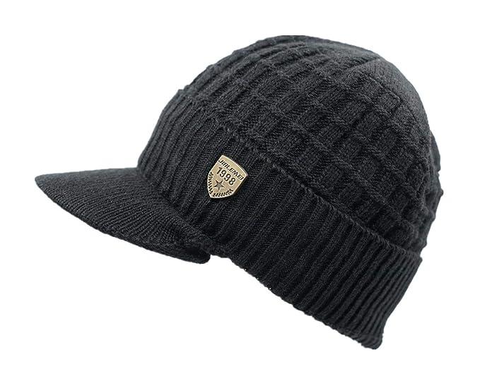 LLmoway Men Women Winter Knit Hat with Visor Warm Cuff Beanie Fleece Lined  Snow Ski Skull b5e1a0d5e1e9