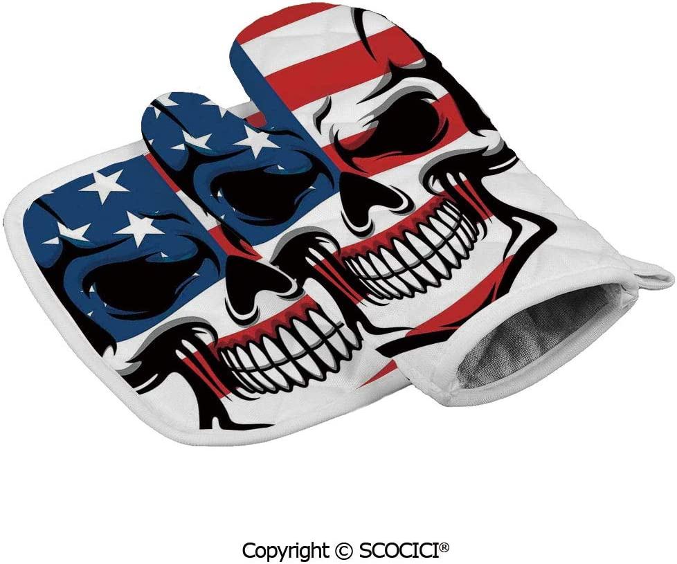 SCOCICI Baking Anti-Hot Glove Scary Skull Horror USA Dead Native of The Country States Evil Art Print Oven Microwave Mitts Pot with Square Mat