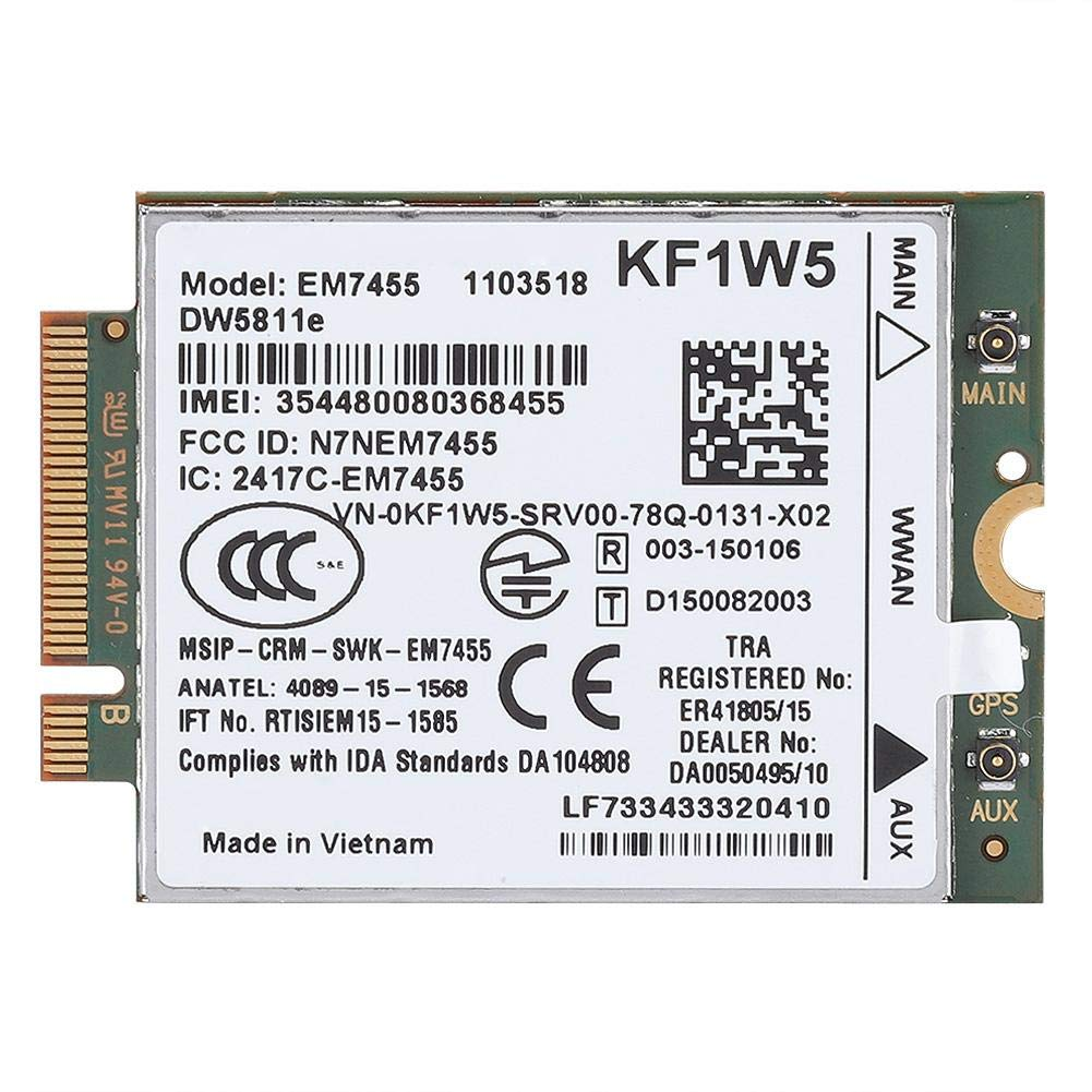 EM7455 Card, Wireless 4G LTE WWAN NGFF Module for Dell Latitude Series, 300 Mbps Max Download Speed, 50 Mbps Max Upload Speed by Tihebeyan
