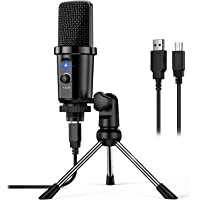 USB Microphone Plug & Play PC Computer Condenser Mic for Streaming, Recording, Podcast, Voice Over, YouTube, Twitch…