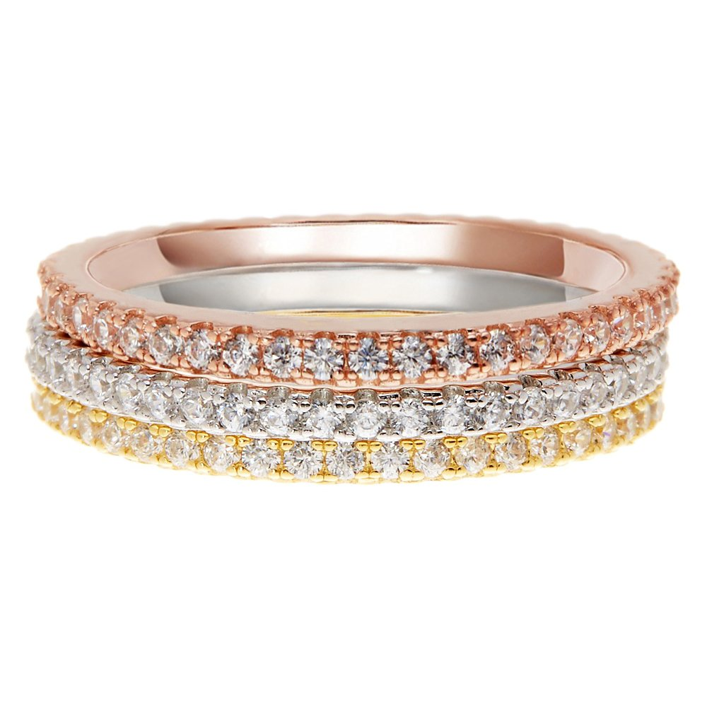 PAVOI AAAAA CZ 14K YELLOW GOLD Plated Silver Cubic Zirconia Stackable Eternity Ring - Size 5 by PAVOI (Image #2)