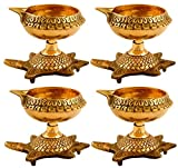 Hashcart (Set of 4 Handmade Indian Puja Brass Oil Lamp - Golden Diya Lamp Engraved Design Dia with Turtle Base