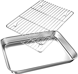 FODCOKI Small Toaster Oven Tray with Cooling Rack, 10.4 x 8.1 x 1 inch Cookie Pans Baking Sheet, Metal Stainless Steel Bakeware Set, Sturdy Heavy Easy Clean Dishwasher Safe