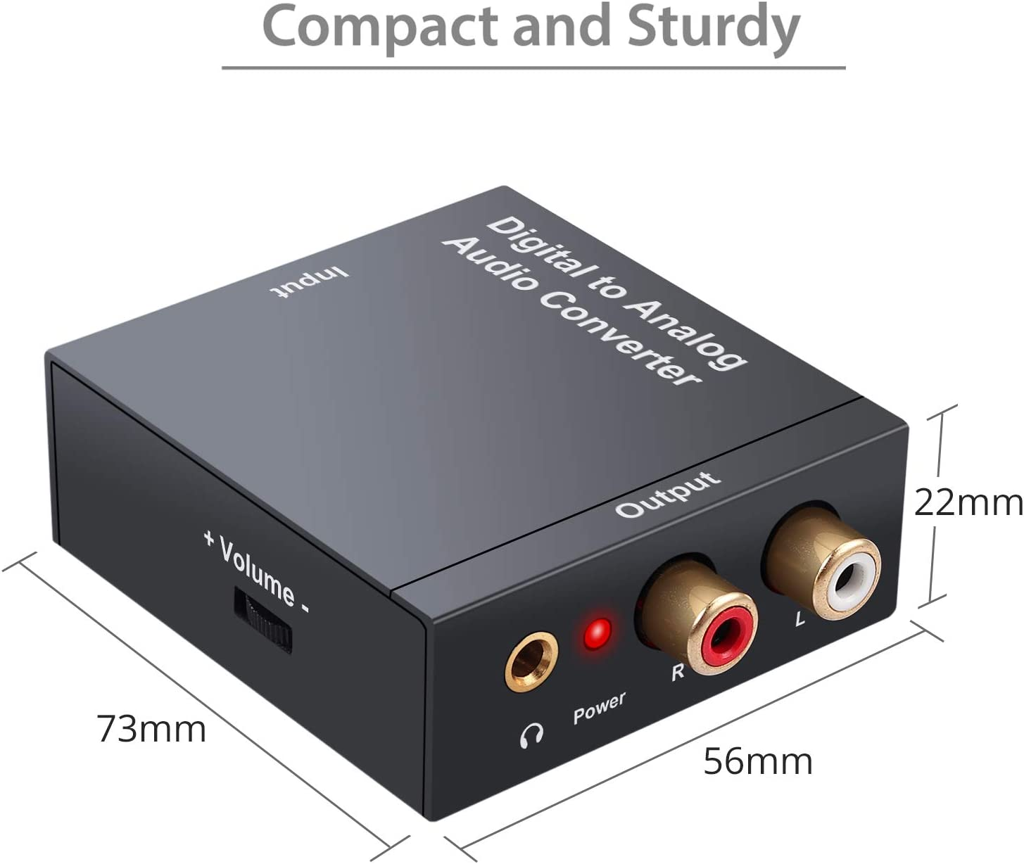 PROZOR 192kHz DAC Converter with Volume Control 192kHz Digital to Analog Audio Converter Digital Coaxial Toslink to Analog Stereo L//R RCA 3.5mm Audio Adapter