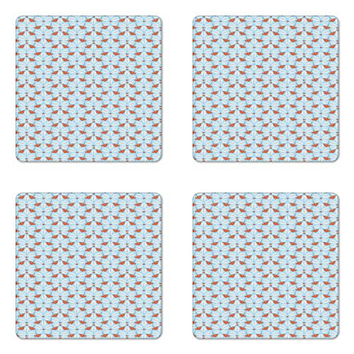 Ambesonne Orange Blue Coaster Set of 4, Winter Rowan Pattern with Frosted Leaves Print, Square Hardboard Gloss Coasters for Drinks, Pale Blue Vermilion and Chocolate