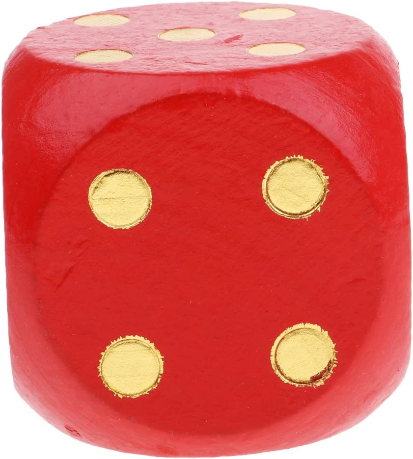 1Pc Extra Large Wooden Dice with Rounded Corner D6 Six Sided Dice 5cm Red