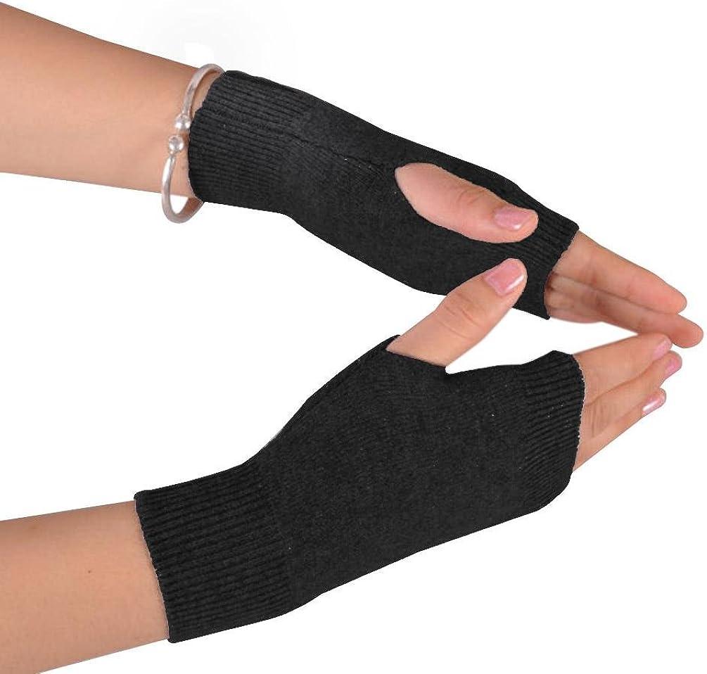 NOVAWO Cashmere Blend Half Fingerless Thumb Hole Warm Gloves Mittens for Men Women