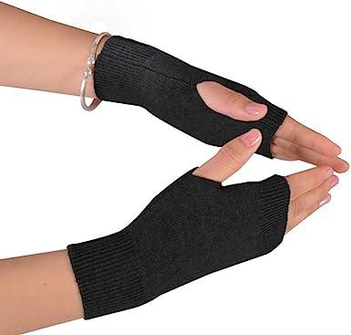 100/% Cashmere Half Fingerless Thumb Hole Warm Gloves for Men Women New Gift hi