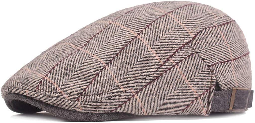 B/éret Homme Chapeau pour gar/çon Boulanger Chapeau Bonnet Gavroche Casquette Plate /à Coton Plaid Vintage Cadeau de Noel Taille Ajustable squarex
