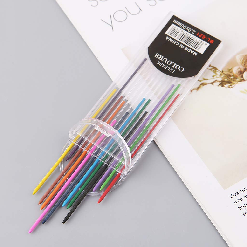Kathope 12Pcs 2.0 Mm Mechanical Pencil Colors 2B Lead Refills Draft Drawing Writing Crafting Art Sketching School Stationery Office Supply