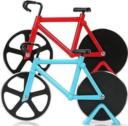 BESTZY 2pcs Cortapizzas con Recubrimiento Antiadherente Cortador de Pizza con Forma Bicicleta