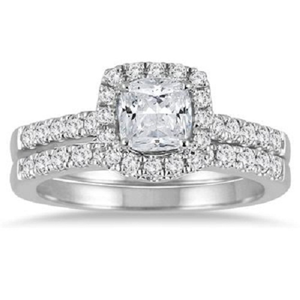 Smjewels .925 Sterling Silver 1.50 Ct Cushion Cut Diamond Halo Engagement Ring Bridal Set by Smjewels