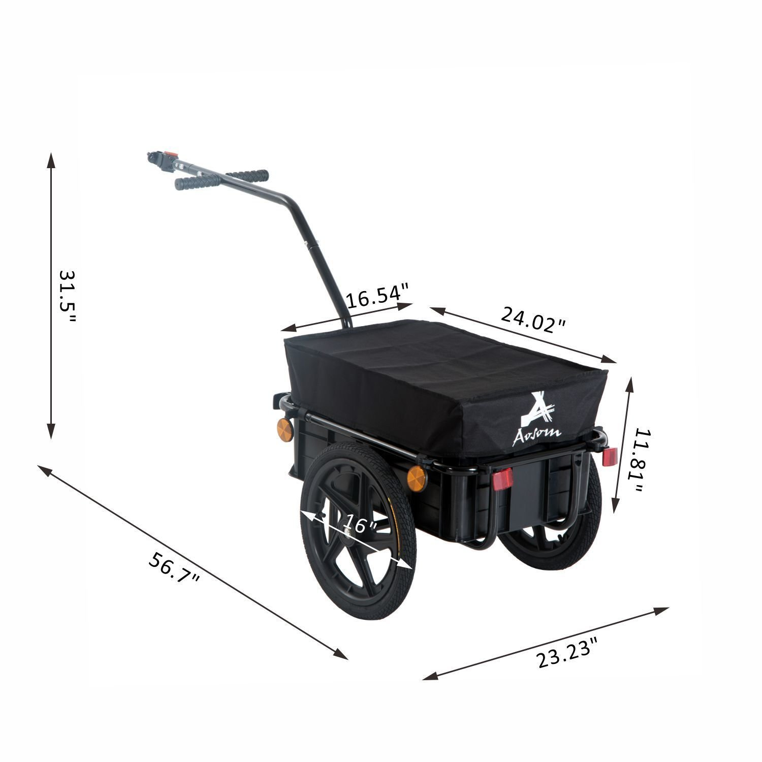 Aosom Enclosed Bicycle Cargo Trailer - Black by Aosom (Image #6)