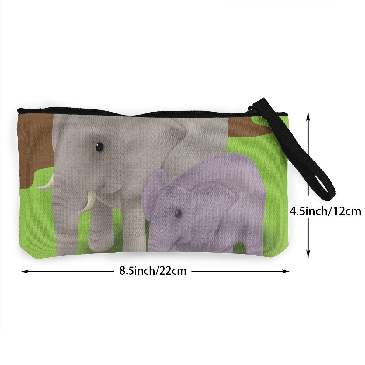 Coin Purse Mother Elephant With Her Baby Elephant Calf Men Zipper Canvas Wallets TravelPersonalized Case