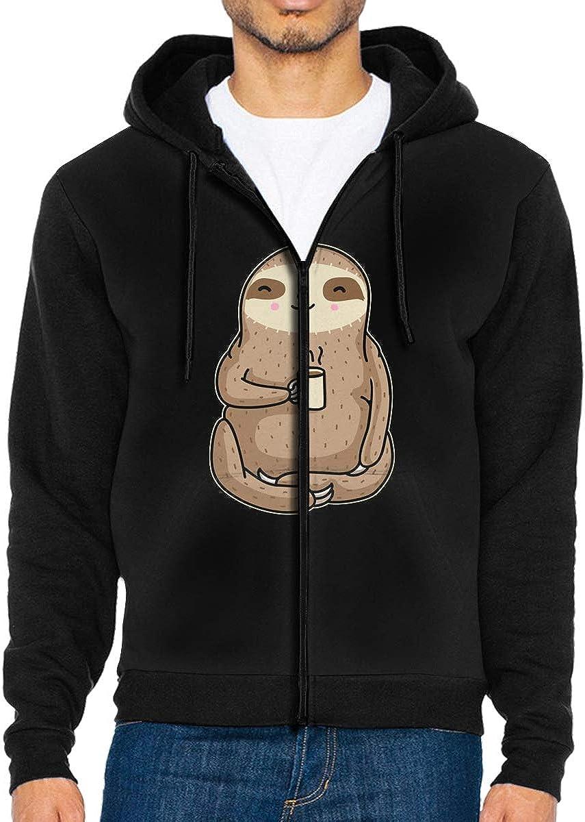 LD6DBGK Coffee Sloth Mens Full-Zip Fleece Hoodie Jacket