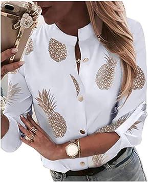 AJYJ Camisa Blusa De Piña Blanca Blusas Y Blusas De Manga Larga para Mujer Ropa Elegante De Otoño Street, S: Amazon.es: Deportes y aire libre
