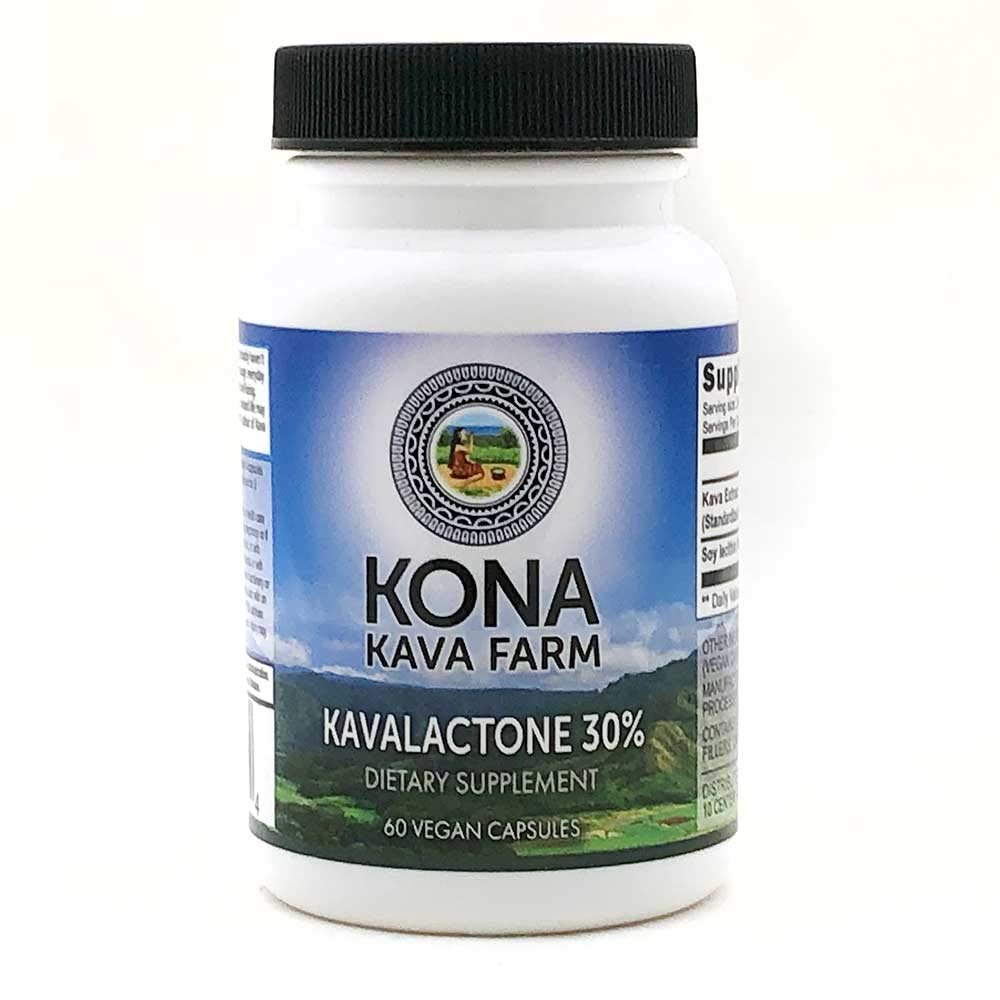 Kona Kava Farms 30% Kavalactone Kava Extract Capsules | All Natural Kava Root Supplement for Relaxation, Steep Support, Stress and Anxiety Relief (60 Capsules)