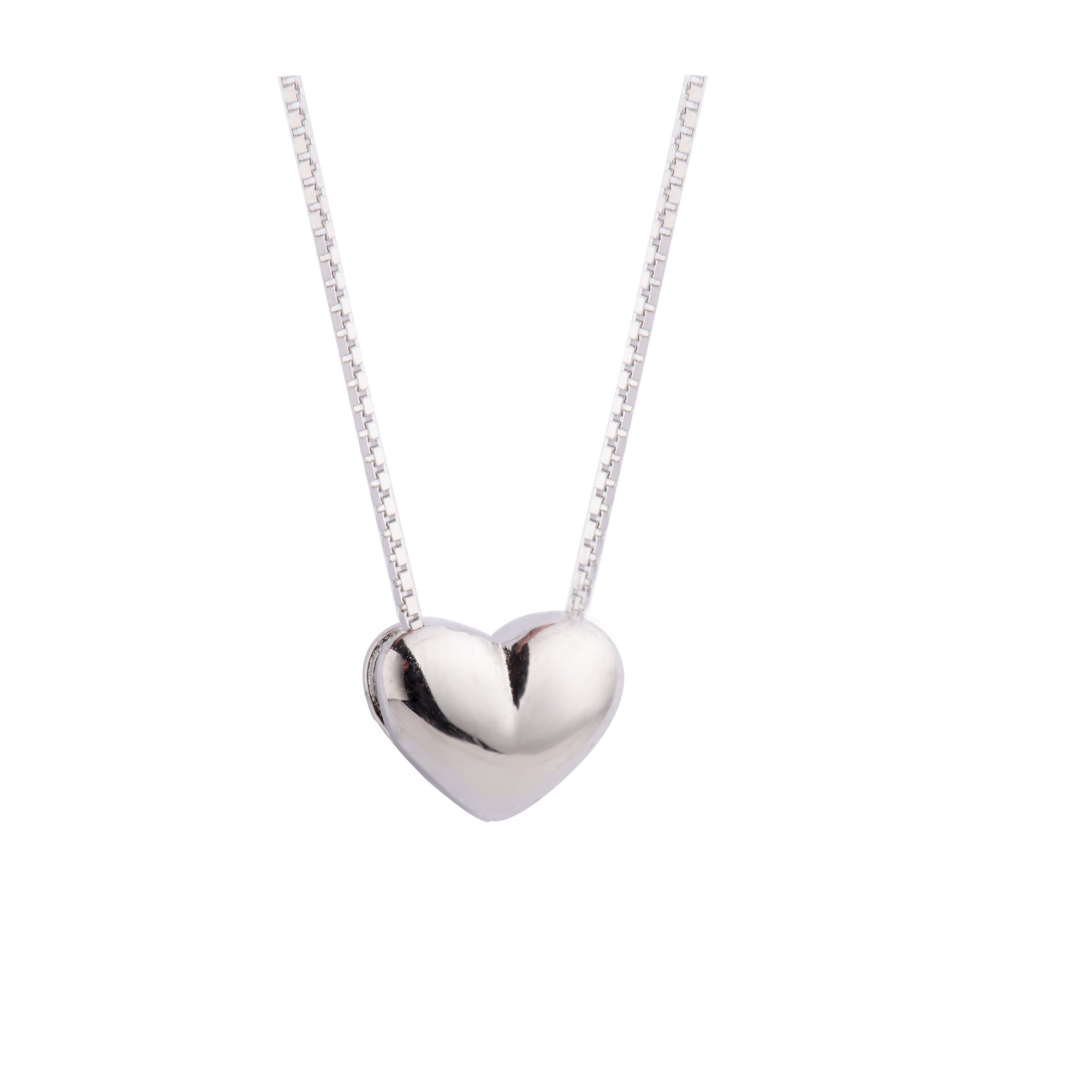 S.Leaf Minimal Necklace Dainty Heart Necklace Sterling Silver Heart Pendant Charm Necklace (silver)