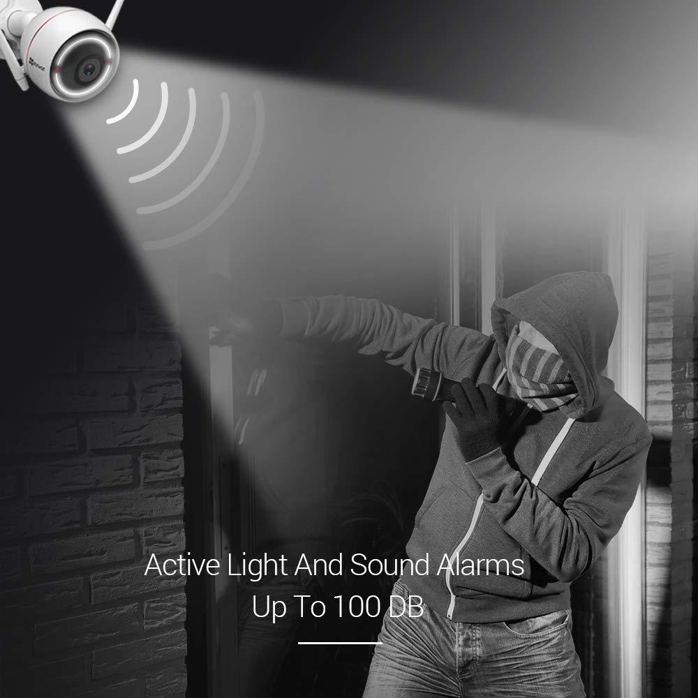 EZVIZ Outdoor Security Camera Surveillance IP66 Weatherproof 100ft Night Vision Strobe Light and Siren Alarm 2.4G Wi-Fi//WiredTwo-Way Audio Works with Alexa Google Home IFTTT iOS Android App 2.8mm Lens