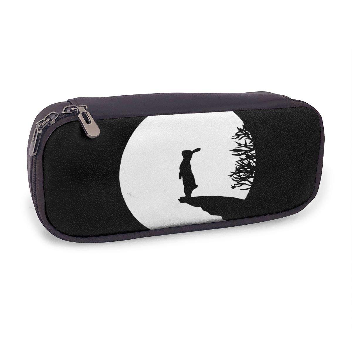 Pencil Case Moony Bunny Rabbit Storage PU Pen Case Waterproof Makeup Pouch Durable Students Stationery with Double Zipper Pen Holder for School and Office