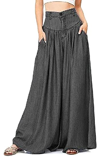 3d9940ffc55f1 Cromoncent Womens Plus Size High Waist Pleated Stretch Wide Leg Palazzo  Pants at Amazon Women s Clothing store