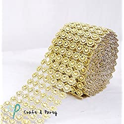 "Diamond Flower Shape Mesh Wrap Roll Faux Rhinestone Crystal Ribbon 4"" x 10 Yards (30 ft) … (Gold)"