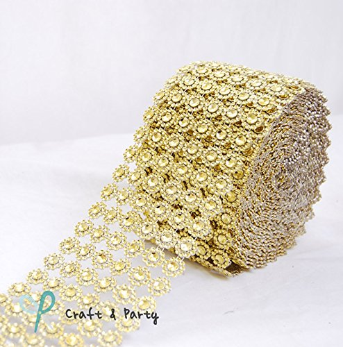"Diamond Flower Shape Mesh Wrap Roll Faux Rhinestone Crystal Ribbon 4"" x 10 Yards (30 ft) ... (Gold)"