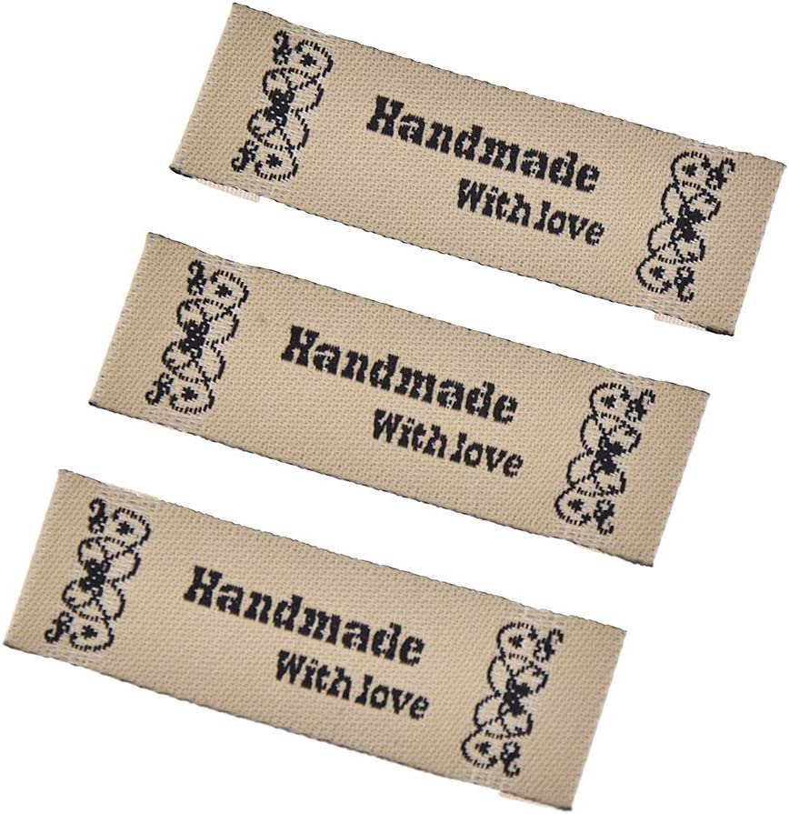 CHZIMADE 50pcs Handmade Labels Cotton Fabric Tags Labels for Garment Bags Sewing Accessories 1