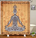 DMS Waterproof Shower Curtain,72''x72'',12 Hooks,Khaki,Meditation