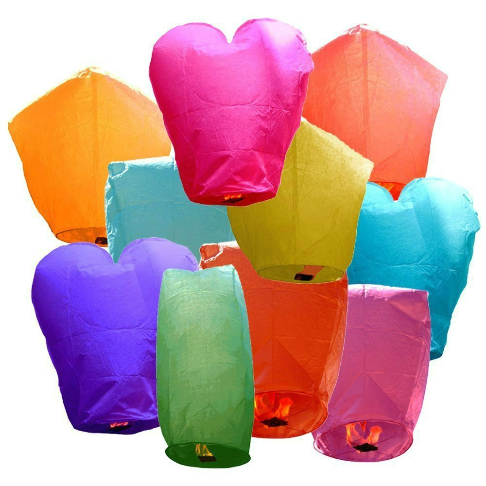 10 Pack Assorted Chinese Flying Sky Lanterns New Deisgned Chinese Lanterns Assorted Shapes & Colors - 100% Biodegradable (5)