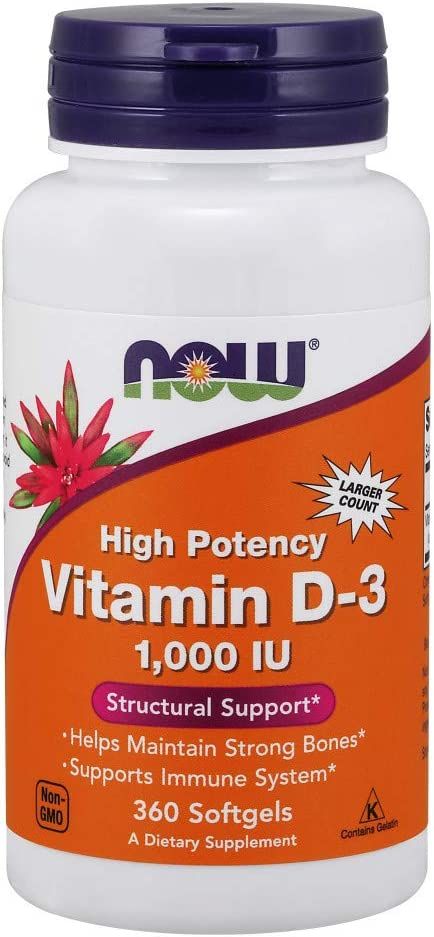 NOW Supplements, Vitamin D-3 1,000 IU, High Potency, Structural Support*, 360 Softgels: Health & Personal Care