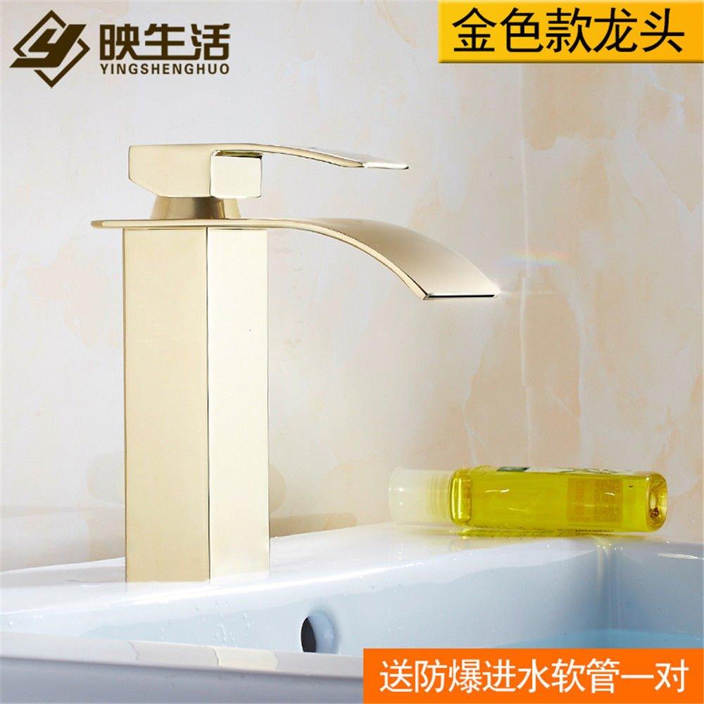 NewBorn Faucet Wasserhähne Warmes und Kaltes Wasser Größe Qualität der Kupfer Basinjade Gold Wasserfall Waschbecken Waschbecken