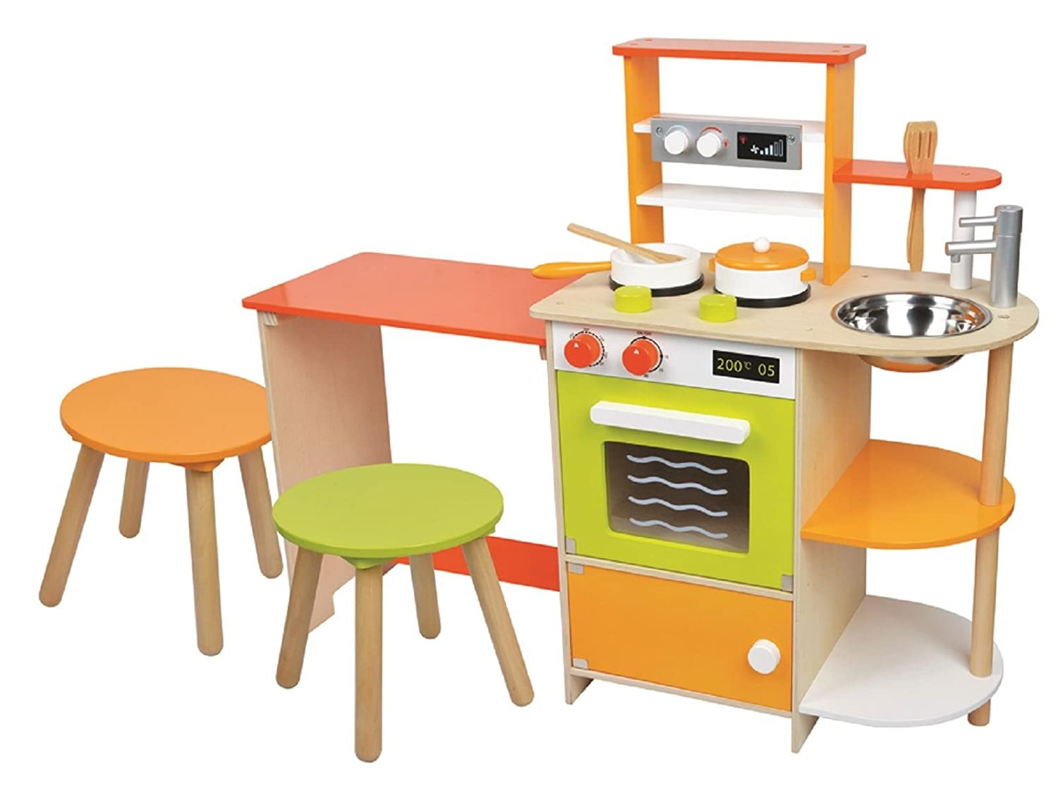 lelin wooden childrens 2 in 1 pretend play kitchen and dining room set amazoncouk toys games - Wooden Kitchen Set
