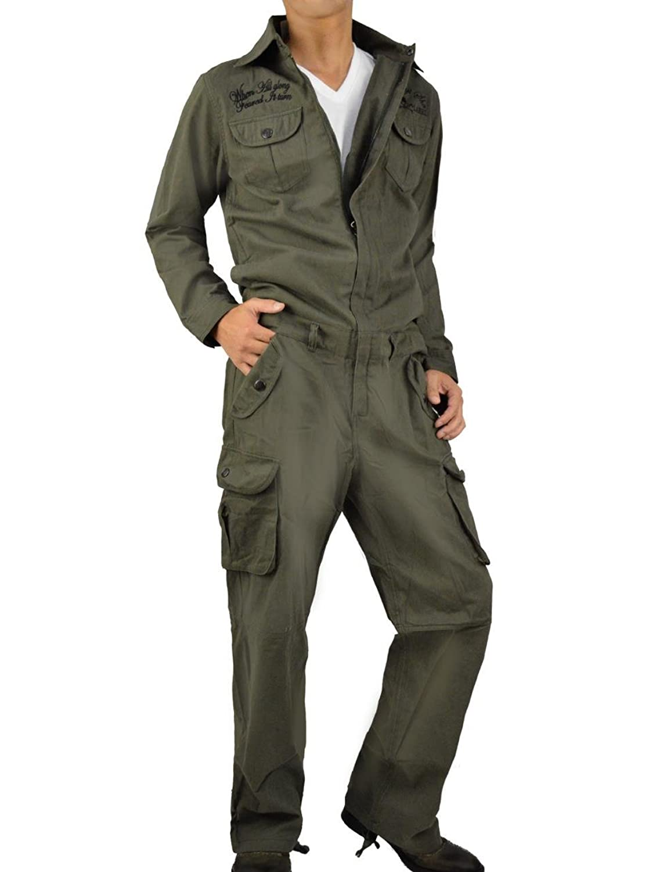 (ラグタイム セレクト) Ragtime Select つなぎ おしゃれ メンズ ツナギ 作業服 刺繍 ドクロ A-03-2312-23A B00BCVS3S2  カーキ M