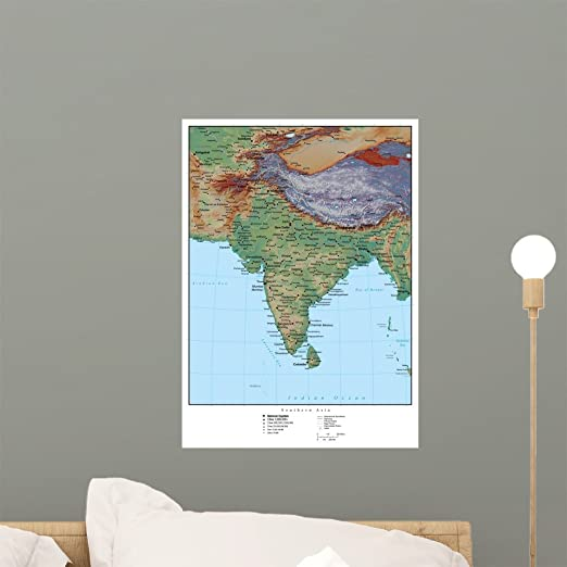Amazon Com Wallmonkeys Wm100491 Map Of India Peel And Stick Wall Decals 18 In H X 13 In W Small Home Kitchen